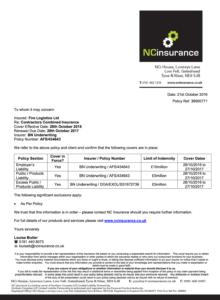 Fire Logistics Insurance Certificate