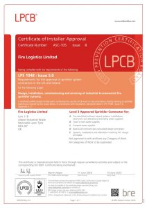 LPCP for Sprinkler Installation - Level 3 contractor